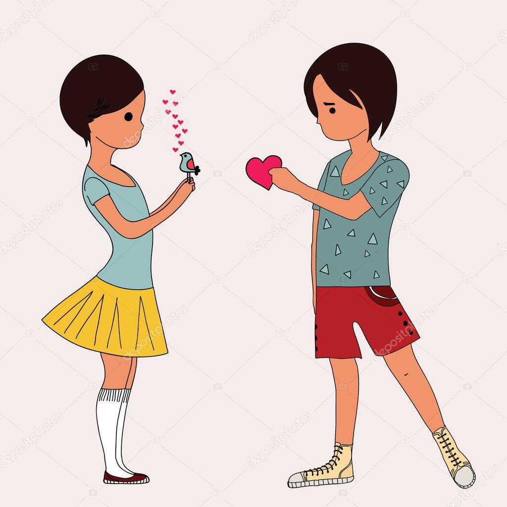 Love Boy And Girl cartoon Wallpaper : Love between boy and girl Stock Vector #4151762