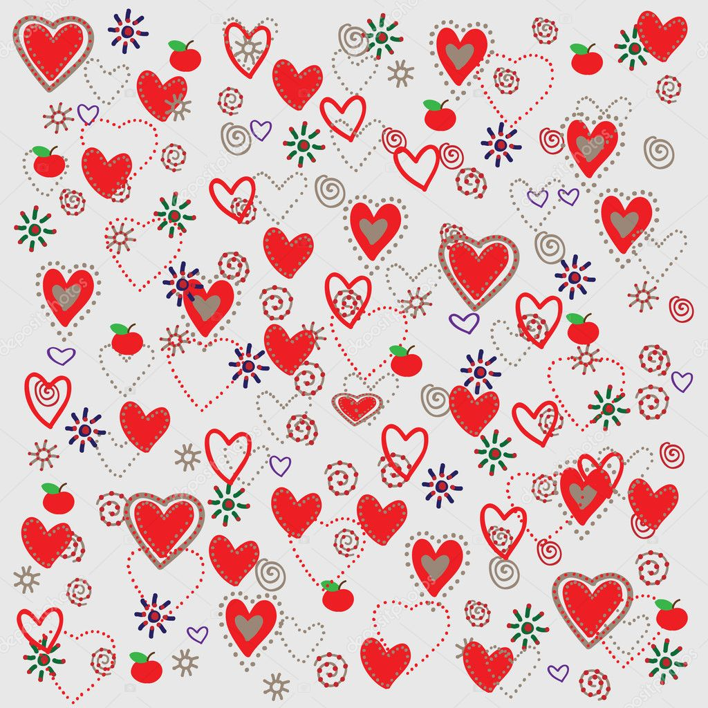 Vector seamless pattern with hearts  — ベクター素材ストック #4151822