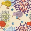 Royalty-Free Stock Vector Image: Romantic seamless pattern. Birds in flowers