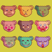 Cool vector set of bears cartoon individuals. — Stock Vector