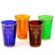Four moroccan  tea glasses - Stock Photo