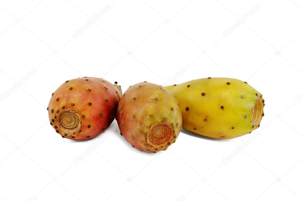 Three prickly pears isolated on white background — Stock Photo #4287493