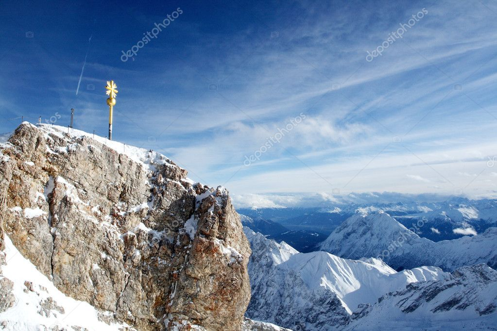 Zugspitze, the golden summit crucifix, Germany — Stock Photo #4287607