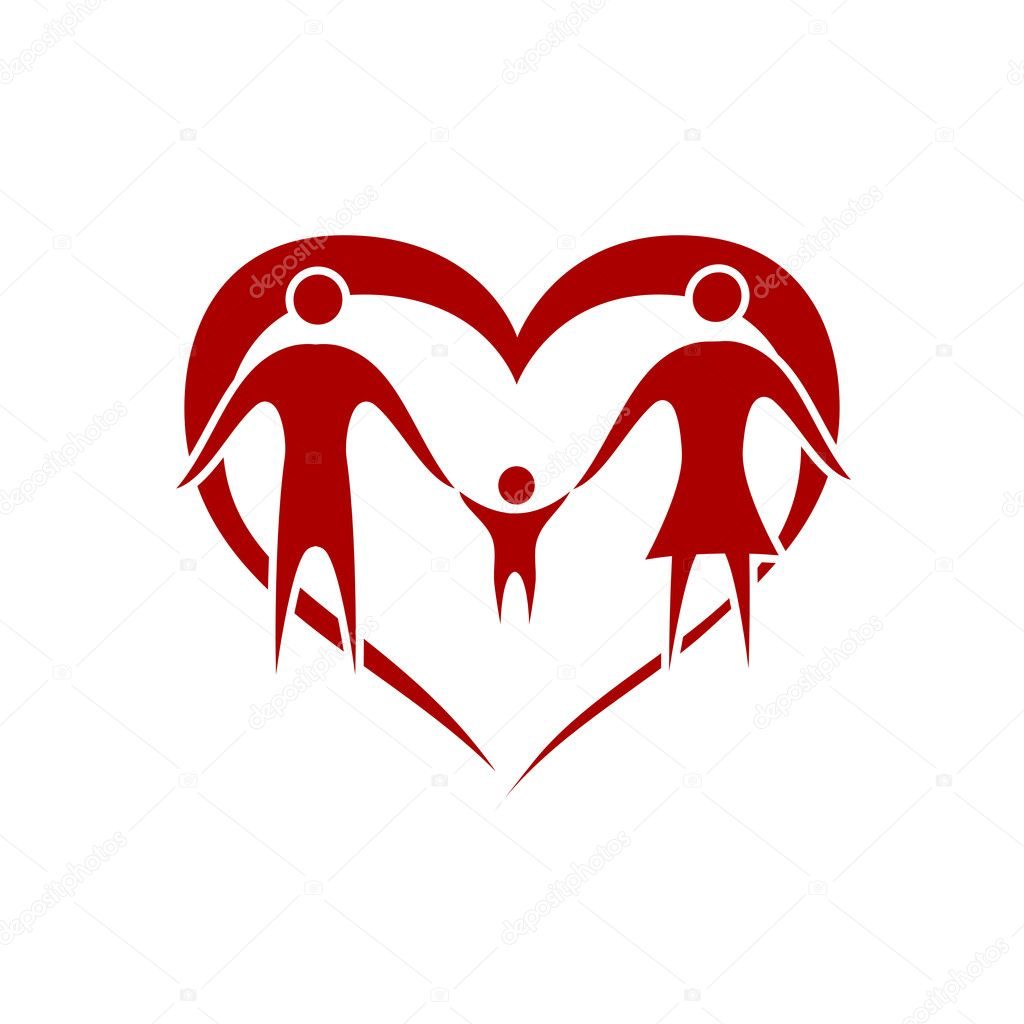 Family vector with heart symbol — Stock Vector #4159671
