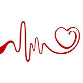 赤いリボンの心 — ストックベクタ