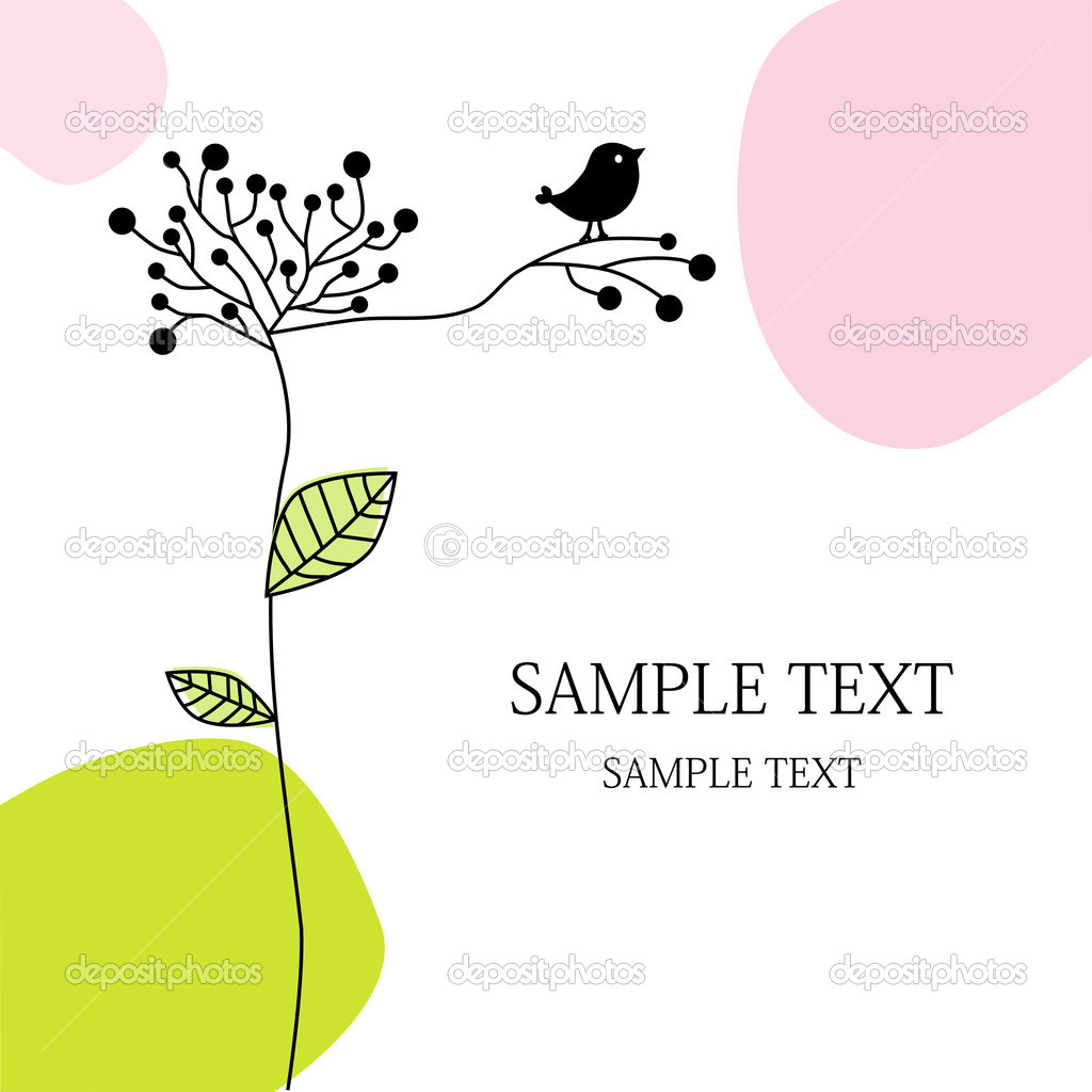 Greeting card with bird  Stock Vector #4160912