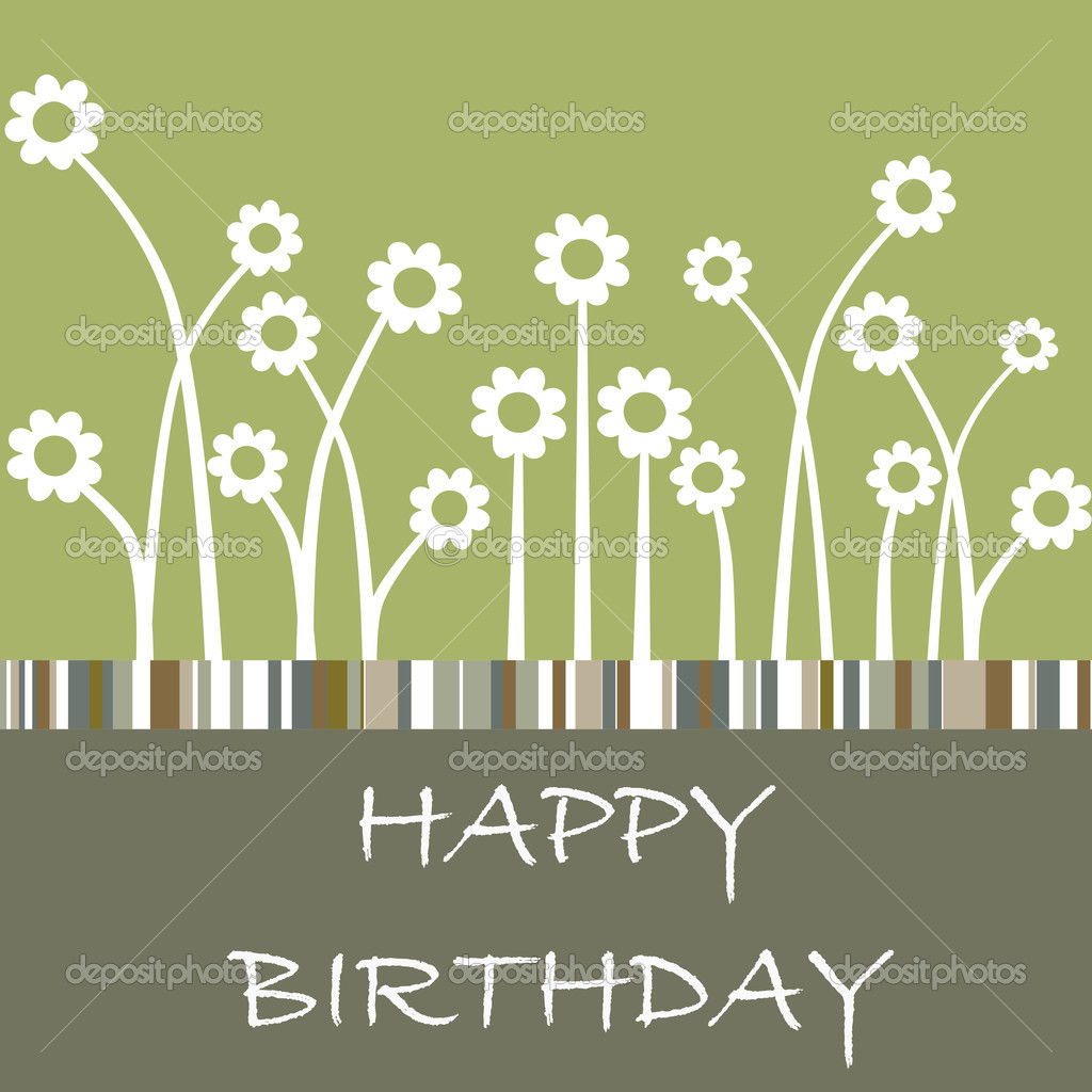 Vector hand lettered Happy Birthday card with flowers  Stock Vector #4161239