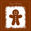Greeting with gingerbread cookie — Stock Vector