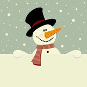 Vector xmas illustration of happy snowman holding blank paper — Stock Vector