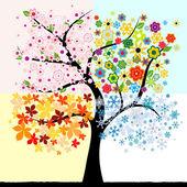 四个季节树 — 图库矢量图片