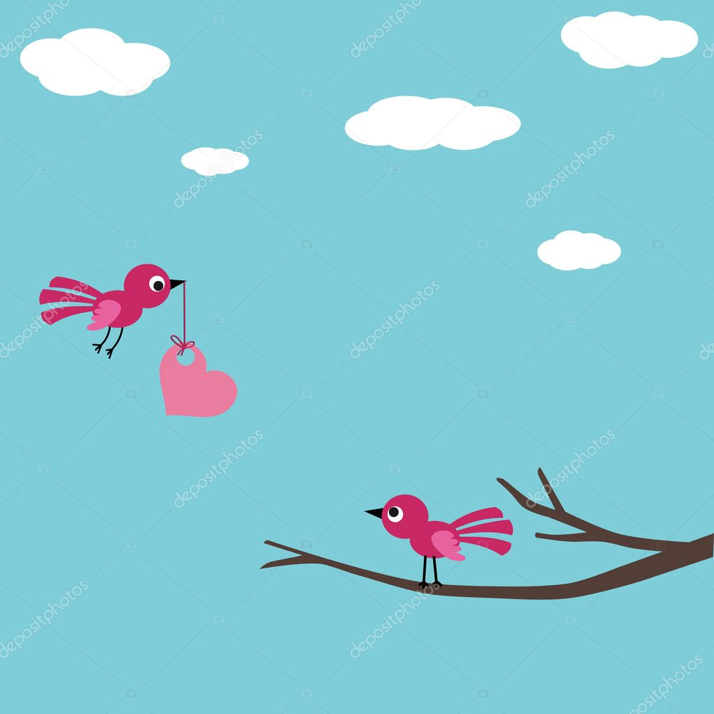 Bird love card — Stock Vector #4635570