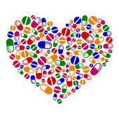 Heart of pills — Stock Vector