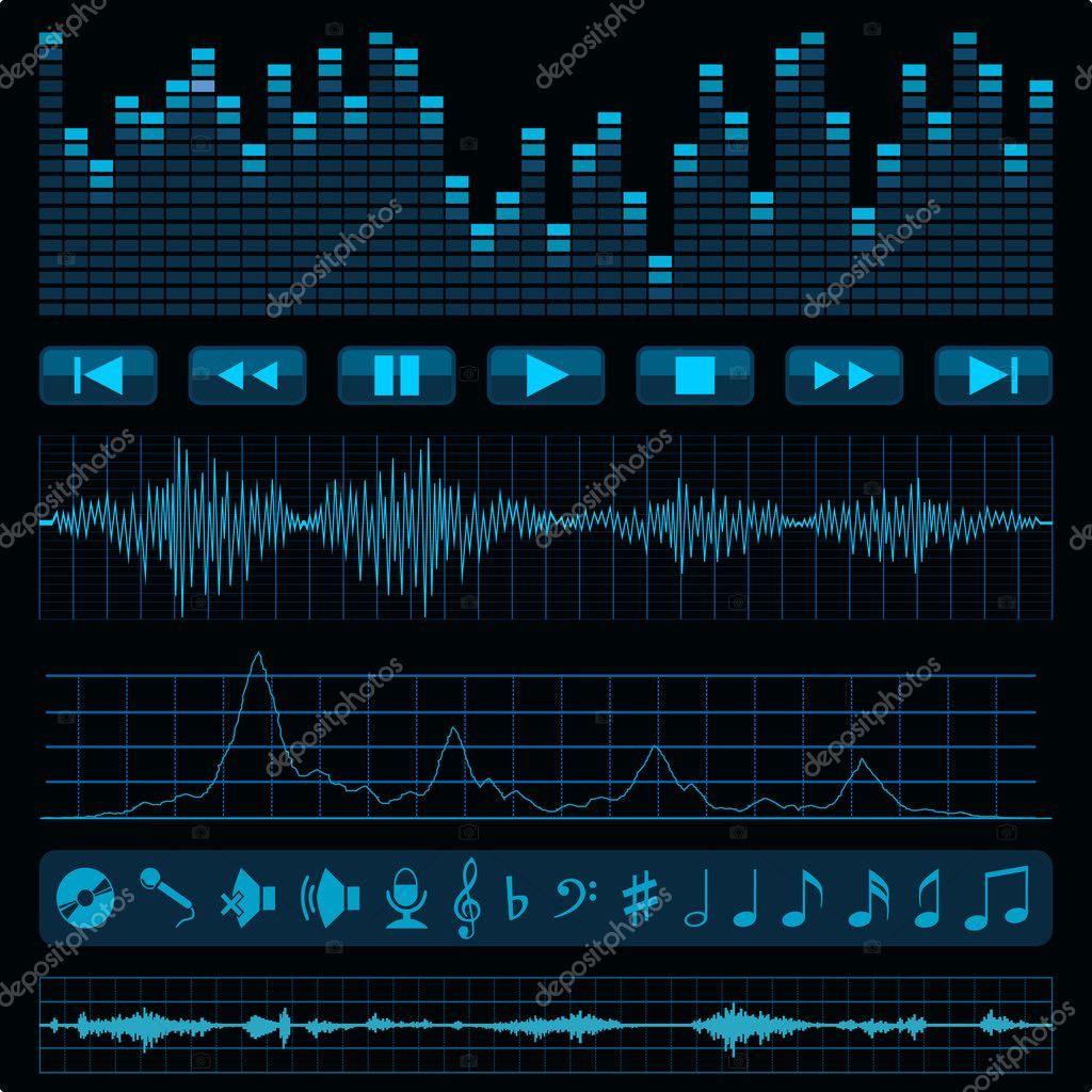Notes, buttons and sound waves. Music background. — Stock Vector #4976152