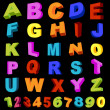 Alphabet and digits — Imagen vectorial