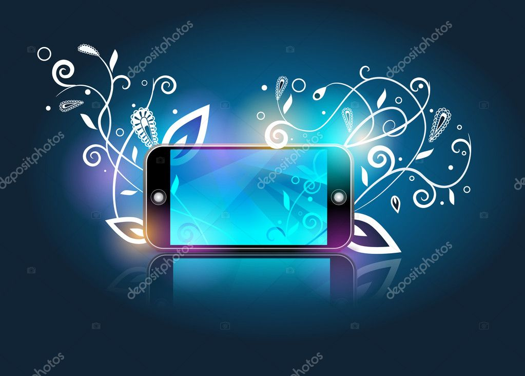Vector smartphone&white abstract flowers on blue gradient background  Stock Vector #4153046