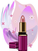 Lipstick on abstract lilac background — Stock Vector