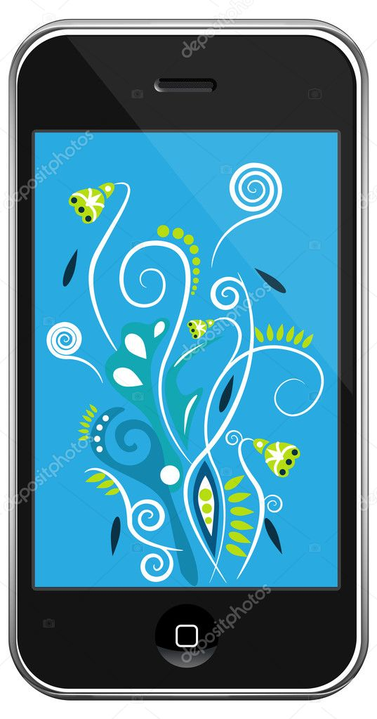 Vector smartphone&multi-color line on gray gradient background — Stock Vector #4297784