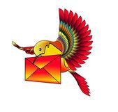 Uccello con lettera — Vettoriale Stock