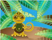 Funny chameleon — Stock Vector