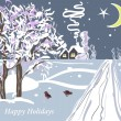 Royalty-Free Stock Imagen vectorial: Christmas vector card with trees, house and birds
