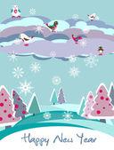 Christmas vector card with bird — Stock Vector