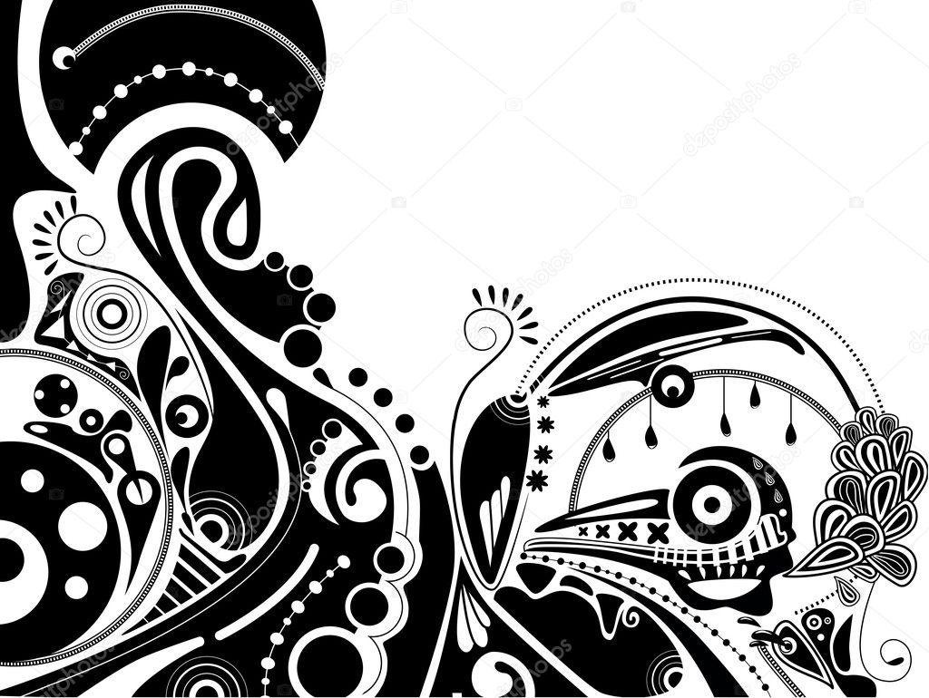 黑白迷幻矢量插画与火车