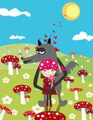 Love. Vector illustration. Little Red Riding Hood — Stock Vector