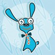 Blue rabbit with bow tie — Stock Vector