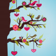 Tree with birds and hearts - Stock Vector
