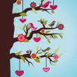 Tree with birds and hearts — Vettoriali Stock