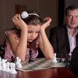 On chess training with trainer — Foto Stock