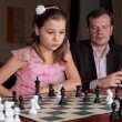 On chess training with trainer — Zdjęcie stockowe
