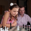 Stock Photo: On chess training with chess trainer