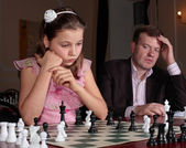 On chess training with trainer — Stock Photo