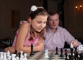 On chess training with chess trainer — Stock Photo