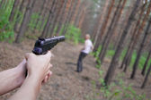 Kill of man in forest — Stock Photo