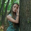 Girl in poplar forest — Stock Photo #4183958