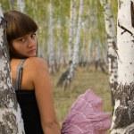 Girl stay near birch 5 — Stock Photo