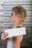 Girl in prison. profile — Stock Photo