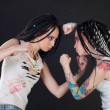 Fighting girls — Stock Photo