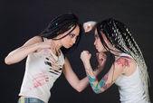 Fighting girls — Stock Photo