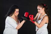 Girls boxing — Stock Photo