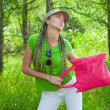 Girl with pink bag — Stock Photo