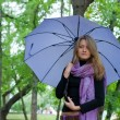 Girl with umbrella and scarf — Stock Photo