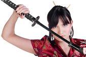 Girl with katana — Stock Photo