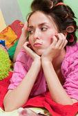 Sad girl in pink dress — Stock Photo