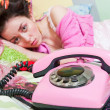 Girl with pink phone — Stock Photo #5057501