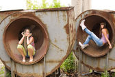 Two girl in the circles — Stock Photo