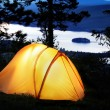 Stock Photo: Tent lit up at dusk