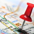 Thumbtack in a Map — Stock Photo #4218122